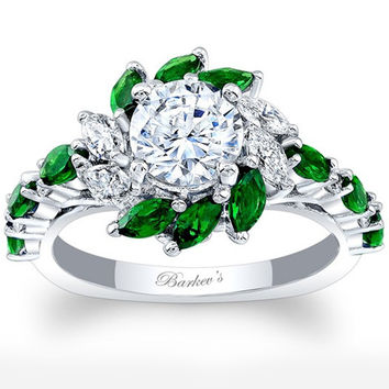 Barkev's Halo Marquise Cut Green Tsavorite Diamond Engagement Ring