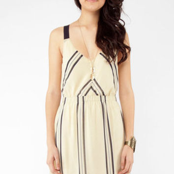 Vertical Horizons Contrast Dress in Taupe :: tobi