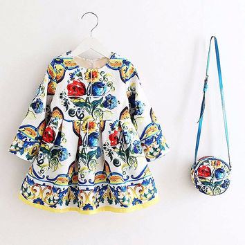 Girls Dress Kinderkleding Meisjes  Spring Brand Children Costume for Kids Dresses Clothes Character Princess Dress with Bag