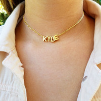 16k Gold Plated Capital Letter Name Choker