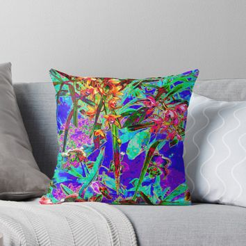 'Crazy Bright Rainbow Garden' Throw Pillow by blakcirclegirl