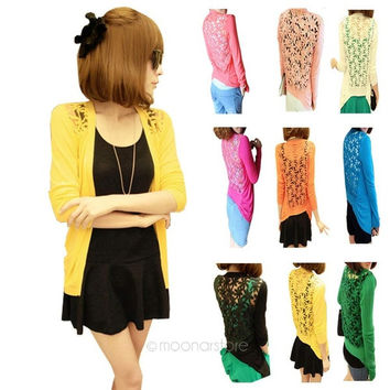 Women's Candy Color Lace Crochet Hollow Out Cardigan Sweaters Knit Blouse Tops Coat Shirt = 1958508164