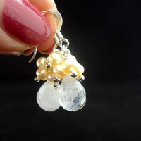 Quartz and Freshwater Pearls Earrings, Quartz Cluster Earrings, Faceted Quartz