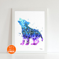Baby wolf watercolor print 2 , Art print, wolf nursery decor, wolf art, Kids gift, Nursery art, home decor, baby gift