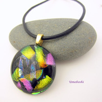 Kaleidoscope Smooth Dichroic Fused Glass Cabochon Pendant  - Multicolored Round Handmade Dichroic Jewelry by Umeboshi