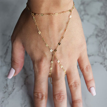 Slave Bracelet, Gold Sequin Chain Attached Hand Chain Slave Bracelet, Linked Ring and Bracelet in gold or sterling silver