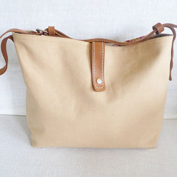 Tan  Canvas Tote Bag  - Leather Single Strap Shoulder bag / Tote Bag / Diaper Bag