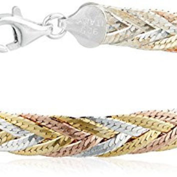 Sterling Silver Italian Tri-Color Seven-Strand Braided Herringbone Chain Bracelet, 7.5""