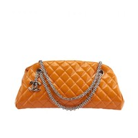 Chanel Bowling Mademoiselle Orange Quilted Patent Leather Shoulder Bag