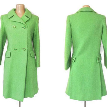 Vintage 60s Green Coat | Bright Green Mod Coat | Wool Boucle Coat | Double Breasted | Fall Winter Coat | Retro Coat | Peacoat | Green Jacket