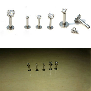 2PCS Surgical Stainless Steel Eyebrow Nose Lip Captive Bead Ring Tongue Piercing Tragus Cartilage Earring Body Jewelry
