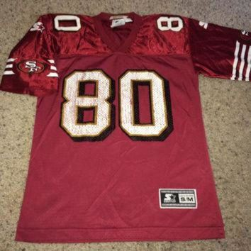 VLX9RV Sale!! Vintage 1997 STARTER San Francisco 49ers Football Jersey SF NFL tee shirt