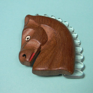Wooden Lucite Horse Brooch or Pin, 1940s Vintage Figural