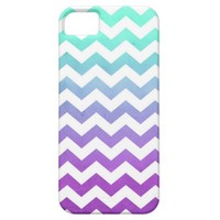 Purple Turquoise Fade White Chevron Zigzag Pattern iPhone 5 Cover