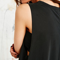 Sparkle & Fade Curve Hem Tank in Black - Urban Outfitters