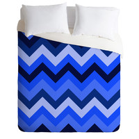 Romi Vega Chevron Blue Duvet Cover