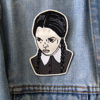 Wednesday Addams Embroidered Patch/Brooch