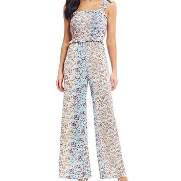 GB Smocked Square Neck Sleeveless Floral Print Wide Leg Jumpsuit | Dillard's