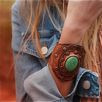 Tooled Leather Boho Cuff Green Turquoise Stone Tooled Design Wide Boho Karen Kell Collection