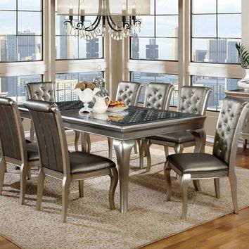 Amina Contemporary Style Elegant Dining Table, Silver