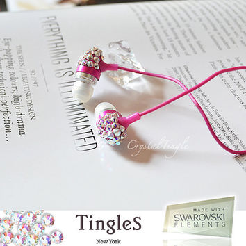 Pink Swarovski Crystal Earphone Headphone Earbuds by crystaltingle