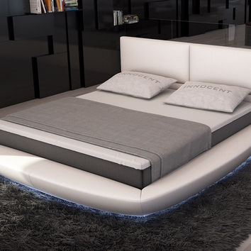 Modrest Sferico - Modern Eco-Leather Bed with LED Lights