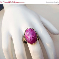 Spring Fashion Sale Vintage Adjustable Gold Toned Ring with Purple Swirl Cabochon