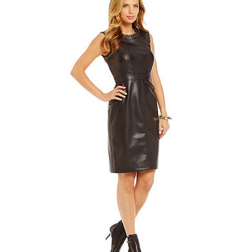 KARL LAGERFELD Faux-Leather Dress | Dillards