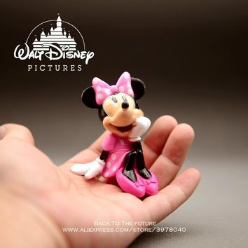 Disney Mickey Mouse Minnie sitting posture 8cm Action Figure Anime Decoration Collection Figurine Toy model for children gift