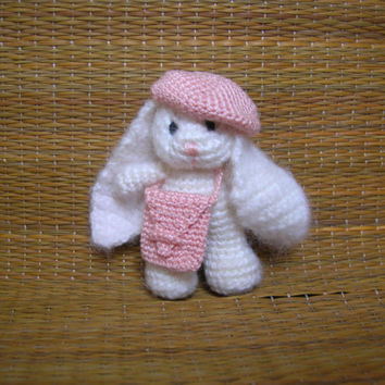 Miniature bunny, plush bunny, crochet miniature doll, tiny animals, tiny bunny, cute plushie doll, crochet toys, amigurumi doll, plush toy