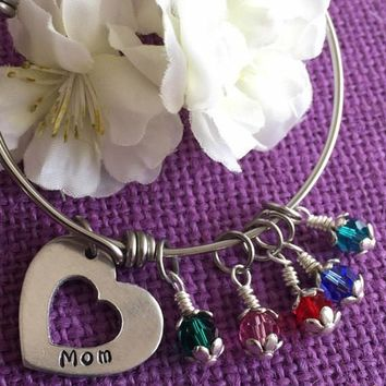 Mom Bracelet - Mother's Day Gift - Jewelry Birthstone Bracelet - Expandable Charm Bracelet - Heart Bracelet - Personalized Jewelry