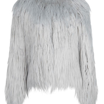 Gray Collarless Faux Fur Coat