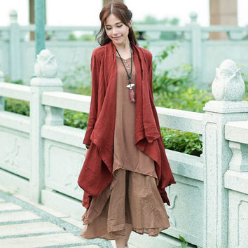 Trench Coat For Women Plus Size Solid Color Long Outerwear Long Sleeve Casual Open Stitch Women Coat Cotton Linen Trench