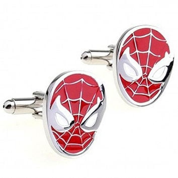 Basket Hill , Spiderman Red and Silver Cufflinks