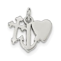 Sterling Silver Polished Cross, Heart and Anchor Charm