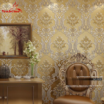 Luxury Classic Wall Paper Home Decor Background Wall Damask Wallpaper Golden Floral Wallcovering 3D velvet Wallpaper Living Room