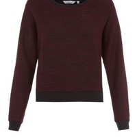 New Look Mobile | Burgundy Chiffon Back Contrast Trim Sweater