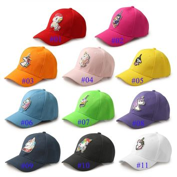 Trendy Winter Jacket Solid Color Unicorn Baseball Cap Unisex Fitted Hat Casual Hip Hop Cap Printing Snapback Hats AT_92_12
