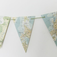Map bunting - upcyled garland made from a vintage world atlas - world map banner - 3 yards bunting