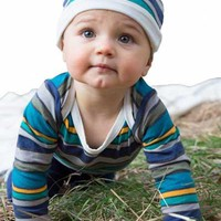 Organic Cotton Baby Onesuit, Long Sleeve - Stripes 3 mo. to 12 mo.