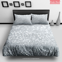 Silver Grey Sparkle Glitter Bedding Sets Home & Living Wedding Gifts Wedding Idea Twin Full Queen King Quilt Cover Duvet Cover Flat Sheet Pillowcase Pillow Cover 047