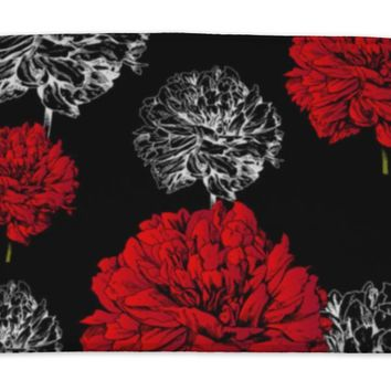 Bath Mat, Abstract Floral Fashion Black Pattern Rich Vintage Art Wallpaper Retro Fabric