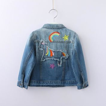 Trendy Girl Denim Jacket Cartoon Horse Rainbow Embroidery Ripped Kids Jean Coats Children Jacket Single Breasted Girl Jackets Outerwear AT_94_13