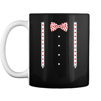 Hearts Bow Tie & Suspenders Valentine's Day Costume  Mug