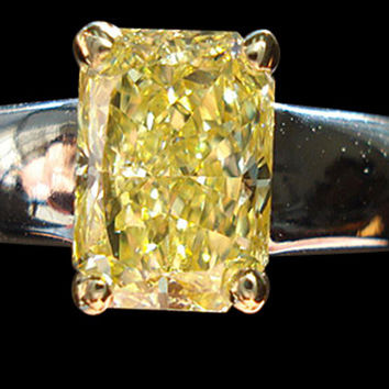 Yellow Canary 1.25 ct. radiant VS1 diamond solitaire ring