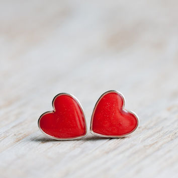 Earring Studs - Vermilion Red Hearts - Heart Earrings