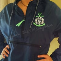 Monogrammed Hooded Pullover Rain Wind Jacket Anchor Greek Sorority Sizes S-4XL preppy Gift