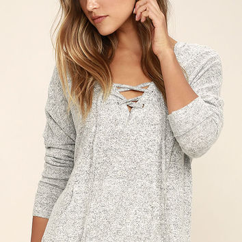Slow Motion Heather Grey Lace-Up Hoodie