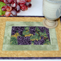 Quilted Mug Rug - Grapes and Leaves Snack Mat - Table Mat