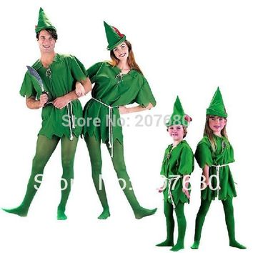 Cosplay Costume Adult and Children green Robin Peter Pan halloween party costume set, include costume+hat+belt